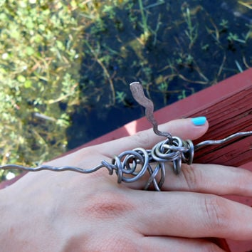 long spiky hammered statement wire ring - cool unique weird design jewelry- wire wrapped original aluminum ring