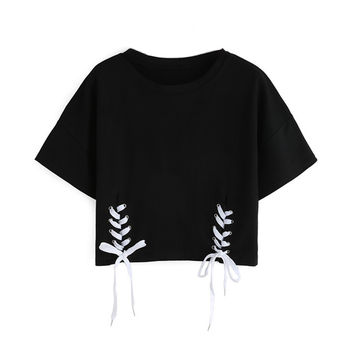 2017 New Summer Women Tops Double Lace-Up Hem Crop Tee Shirt Ladies Short Sleeve Round Neck Casual T-Shirt
