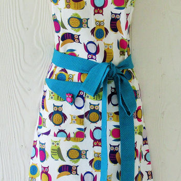 Teal Owl Apron , Colorful Owls , Women's Full Apron , Vintage Style Apron , Retro Inspired , KitschNStyle