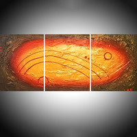 ARTFINDER: enigmatic gold huge triptych abstract original gold impasto abstract extra large art canvas - 48 x 20 inches by Stuart Wright - A good sized original hand painted abstract can...