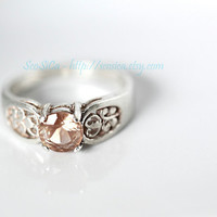 Oregon Sunstone Ring in Sterling Silver with Pastel Pink Schiller Hues