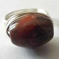 Brown Agate ring - brown stone ring - tube bead ring - autumn jewelry - wire wrapped handmade jewelry - Agate bead ring - funky ring