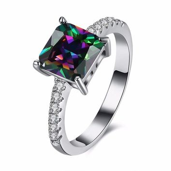 Sweet Zircon Ring Rhinestone Rainbow Zircon Women Ring