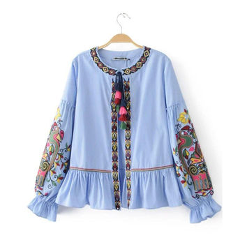 X706 spring summer women ethnic striped tassels fringe floral embroidery shirt jacket ladies BOHO vacation thin jackets tops