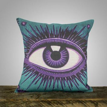 Eye Pillow Cover Teal And Amethyst Decorative Throw Pillow Purple And Blue Celestial Zodiac Conceptual 16