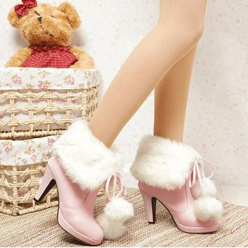 Fur Leather Lace Up High Heel Calf Boots