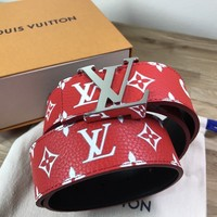 Supreme x Louis Vuitton All Over Monogram Print Red Belt LV Size 90/36