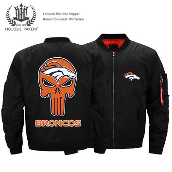 Dropshipping USA Size MA-1 Jacket NFC USA Football Team Denver Broncos Flight Jacket Custom Design Printed Bomber Jacket made
