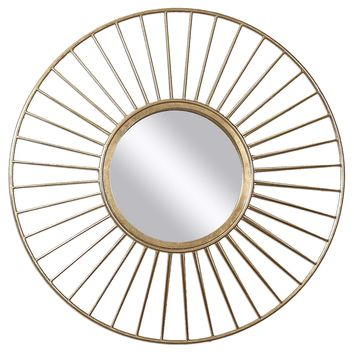 Caspian Antiqued Gold Leaf Round Wall Mirror by Uttermost