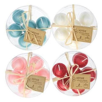 6 piece Scented Votive Candle in Round Clear Box - Assorted