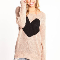 HEART OVERSIZED KNIT SWEATER
