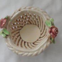 Vintage Tiny CAPODIMONTE PORCELAIN BASKET / Handwoven Porcelain Basket Made in Italy / Tiny Capo Di Monte Basket Ornament with Roses