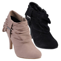 Journee Collection Womens Buckle Accent High Heel Booties | Meijer.com