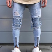 Helisopus 2017 Men's Pleated Spliced Jeans Washed Blue Holes Jeans Slim Skinny Ripped Denim Punk Rock Pants
