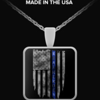 Real Heroes Thin Blue Line Necklace