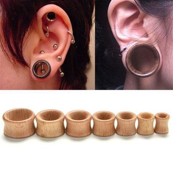 ac ICIKO2Q Hollow Plug Piercing Ear Expander 1 Pc Body Jewelry Natural Wooden Plugs Gauges Flesh Ear Tunnels