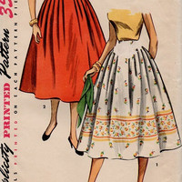 Retro Swing Circle Skirt Simplicity 50s Sewing Pattern Rockabilly Style High Waistband Pleated Border Print Waist 26