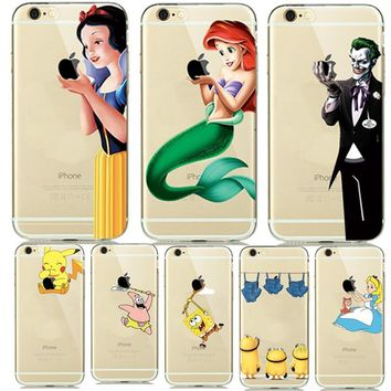 Fashion Cartoon Snow White Mermaid Soft Case For Fundas iphone 7 8 Plus 5s 6s 5 6 Clear Cover Creative Catch logo Pikachus Capes