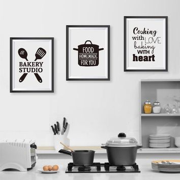 Cooking With Love Kitchen Quote Poster Nordic Style Painting Baking With Heart Pictures Art Print Canvas Wall Home Decor Framed