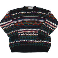 Vintage 1990s Southwestern Style Striped Sweater Mens Size XL