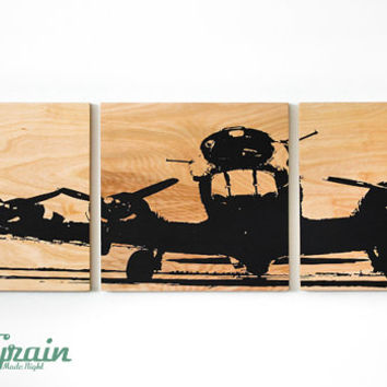 Airplane Wall Art on Woodgrain - Unique 12x36 Wall Art - Custom Made