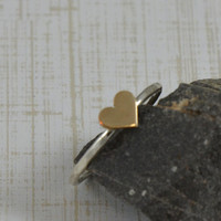Sterling Silver Ring - Gold Heart Ring Hammered Sterling Silver Ring Band - Stack Ring - Made in your size