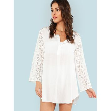 Contrast Lace Cover Up
