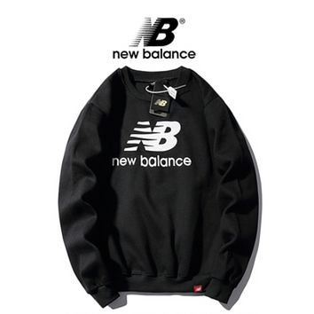 New Balance New fashion bust letter couple hooded long sleeve sweater top Black
