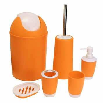 6Pcs/set Toothbrush Paste Holder Trash Bin Soap Dish Dispenser Toilet Brush Set Bathroom Wash Bath Set Bathroom Accessory Sets