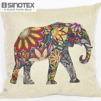 1PCS/Lot Floral Elephant Printed Linen Cushion Cover For Sofa Throw Pillow