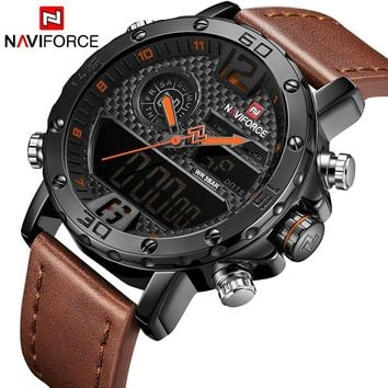Men Watches NAVIFORCE Luxury Brand Quartz Watch Leather Analog Digital Sports Watches Army Military Digital LED Wristwatches Rel