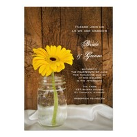 Yellow Daisy in Mason Jar Country Wedding Invite from Zazzle.com