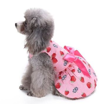 DCCKU7Q pet clothes for small dog dress spring girl puppy chihuahua Sweetie Strawberry roupa pet para gato