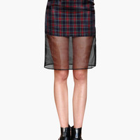 Dark Plaid Mesh Skirt