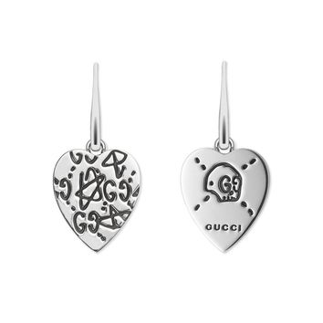 Gucci Ghost Silver Heart Dangle Earrings