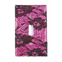 Fuchsia Glitter & Black Floral Lace Floral Lace Switch Plate Cover