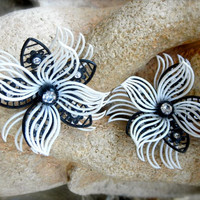 MOD 1960s Black & White Flower Clip On Earrings with Rhinestones Made in Western Germany