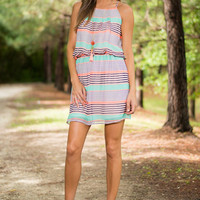 Fun In The Sun Dress, Mint-Orange