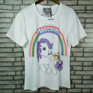 """Moschino"" Women Cute Fashion Multicolor Letter Cartoon Pony Print Short Sleeve Cotton T-shirt Top Tee"