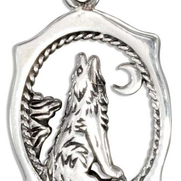 Sterling Silver Framed Howling Wolf Charm