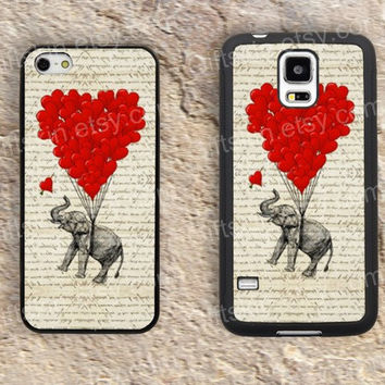 Old newspapers Elephant heart iphone 4 4s iphone  5 5s iphone 5c case samsung galaxy s3 s4 case s5 galaxy note2 note3 case cover skin 156