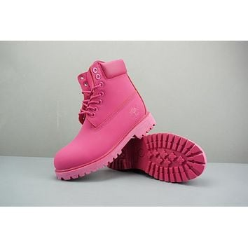 Timberland Leather Lace-Up Boot High Bright Pink