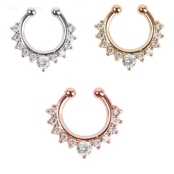 Fake Septum Nose Ring Piercing for Women Crystal Nostril Nose Stud Clip On Nose Hoop Ring Body Fake Piercing Jewelry