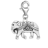 "Clip on "" Circus Elephant "" Dangle Pendant for European Clip on Charm Jewelry w/ Lobster Clasp"