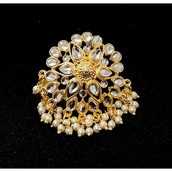 Tiny Pearl bead hanging flower shape kundan like stone traditional adjustable Finger ring