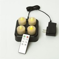 Remote Controlled Rechargeable Amber Tea Lights Set of 4