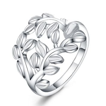 Beautiful Retre flower style SILVER ring Leaf hot cute noble pretty fashion Wedding silver Plated women Lady Ring jewelry R757