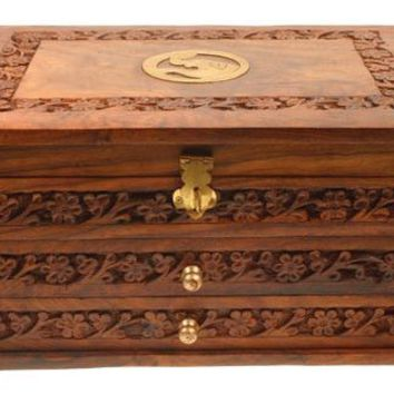 Wooden Three Draw Brass Detail Jewellery Box