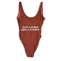 SAVE A HORSE RIDE A COWBOY Women's One Piece Swimsuit