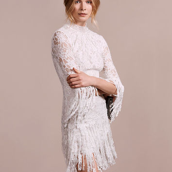 Alexis Sonia Frayed Fringe High Neck Lace Dress | Shop IntermixOnline.com
